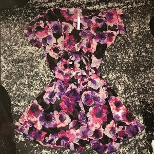NWT Asos pink, purple, and black floral romper